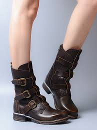 high quality black coffee brown genuine leather square toe women combat boots with buckle patchwork botas mujer