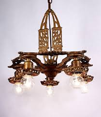 sold gorgeous antique art deco five light cast iron chandelier