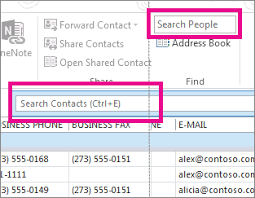 phone number for address find people and contacts outlook