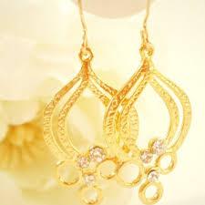 gold chandelier earring bridal earrings minimalist jewelry wedding jewellery metallic earrings