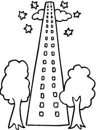 Disegno Di Grattacielo Con Due Alberi Da Colorare Disegni Da