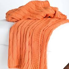 orange throw blanket cable knit blankets crate and barrel burnt