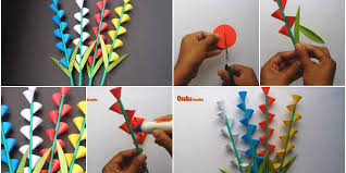 How To Make A Beautiful Flower With Paper How To Make Beautiful Paper Flower Stick For Room Decoration