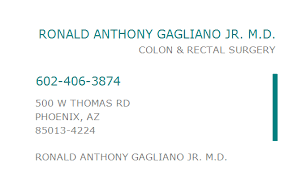 1043296460 NPI Number | RONALD ANTHONY GAGLIANO JR. M.D. | PHOENIX, AZ |  NPI Registry | Medical Coding Library | www.HIPAASpace.com © 2021