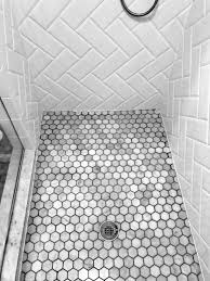 small hexagon white and grey shower floor tile ideas