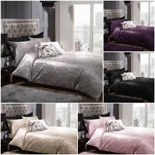 details about luxurious full crushed velvet duvet cover pillowcase s bed linen bedding set