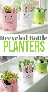 these recycled plastic bottle planters are so adorable and can be self watering planters they