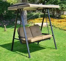 2 seater garden swing chair light brown cushion steel frame outdoor furniture