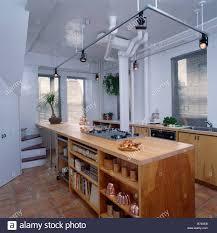 Modern Kitchen Track Lighting Track Lighting Above Wooden Peninsular Unit Wityh Shelving