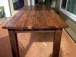 pallet wood topped dining tables