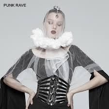 <b>PUNK RAVE</b> Women's Victoria Black White Lace Collar Accessories ...