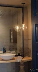 bathroom lighting pendants. Gray Shiplap Powder Room With Balustrade Vanity And Marble Sink Bathroom Lighting Pendants D