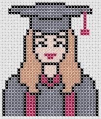 Modern Cross Stitch Patterns Graduate Girl Cross Stitch 4