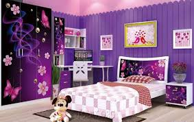 princess bedroom wall paint ideas with purple color and white furniture set
