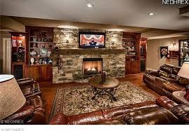 rustic living room with stone fireplace carpet in kirtland oh