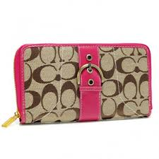 Coach Buckle In Signature Large Fuchsia Wallets AXE