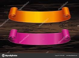 Purple Ribbon Banner Decorative Orange Purple Ribbon Banner Copy Space Wooden