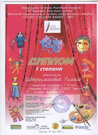 Достижения наших учащихся Червякова Н Н Конкурс Министерства Культуры РТ Театр глазами юных 2014 1 степени Диплом