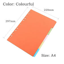 Page Binder Binder Index Dividers Inner Page Loose Leaf Notebook Organizer Index Paper Separator Divider Pages 5 Sheets Matching Filofax