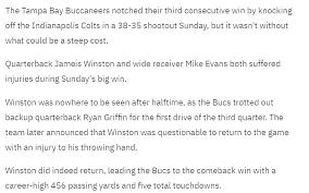 Injury Updates On Mike Evans Jameis Winston