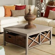 fascinating living room design with extra large grey square coffee table on wicker storage basket and comfy white leather sofa