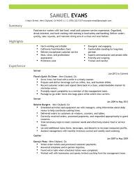 Fast food server resume example