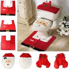 fancy happy santa toilet seat cover rug bathroom set decoration rug xmas natal navidad decoration by hjh1010 dhgate com