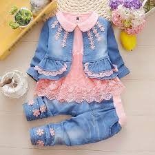 <b>Spring Autumn Infant</b> Baby Girls Denim Clothing Set 3pcs Lace ...