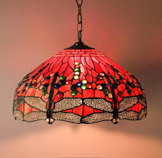 19 Dragonfly Tiffany Style Stained Glass Lamp Shade Hanging Lamp Handcrafted