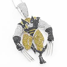 custom jewelry wolverine diamond pendant 7 45ct solid 10k gold white image