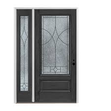 pella 3 4 lite decorative glass left hand inswing stained fiberglass prehung entry door with left sidelight with insulating core common 48 in x 80 in
