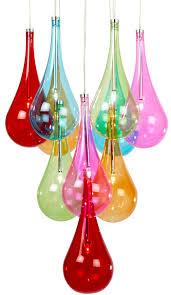 multi coloured glass 10 light stacked chrome pendant