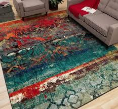 details about unique area rug multi color faded design bright bold teal blue red orange carpet