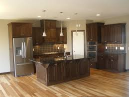 Dark Hickory Cabinets Latest Flooring In Kitchen Ldk Featuring Walnut Wood  Floors Stainless Cabinets Large  K84