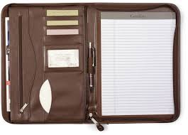 excellent gemline deluxe executive vintage brown leather zippered padfolio ca01