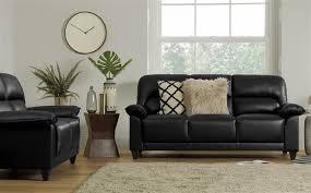 gallery kenton small black leather sofa