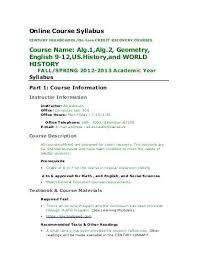 Syllabus Template High School Online Course Syllabus Template Curriculum Vitae Design