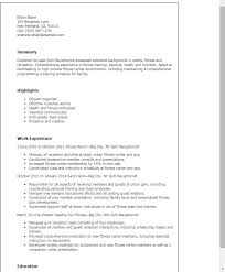 Resume Templates: Gym Receptionist