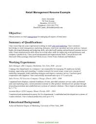 Complex Examples Of Retail Resumes For Retail Store Production