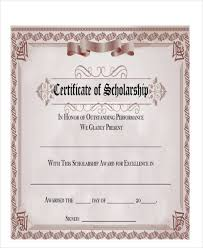 Scholarship Certificate Template For Word Sample Award Certificate 27 Award Certificate Examples