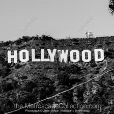 black and white framed wall decor featuring the hollywood sign in los angeles