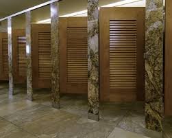 bathroom partitions hardware. Ironwood Manufacturing Louvered Door Toilet Partition With Beautiful Stone Pilasters And Panels Bathroom Partitions Hardware A