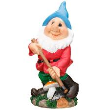 garden gnome with hoe