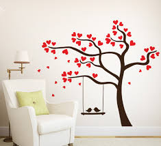 wall art ideas design love heart tree wall art bird hanging swing brown coloured branch suitable for livingrooms impressive artwork tree wall art  on wall art love heart with wall art ideas design love heart tree wall art bird hanging swing