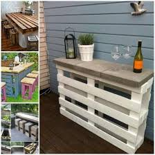 Two pallets tied together by a few nails use concrete tiles as a counter to  serve drinks in style, a very fast and rewardful craft to take on for your  next ...