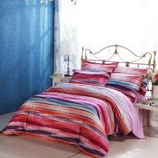 pastel burdy red purple orange pink blue and white rainbow stripe print neon ombre bright colorful full queen size bedding sets
