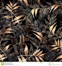 Blad Vector Naadloos Patroon Bloemen Zwart Behang Als Achtergrond