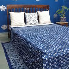 indigo booti 8203 indian hand block printed cotton bedspread