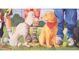 Dogs at Play Ground Wallpaper Border