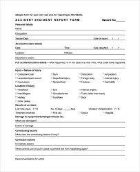 Form For Accident Incident Report Sample Incident Reporting Form 9 Free Documents Download In Pdf Word